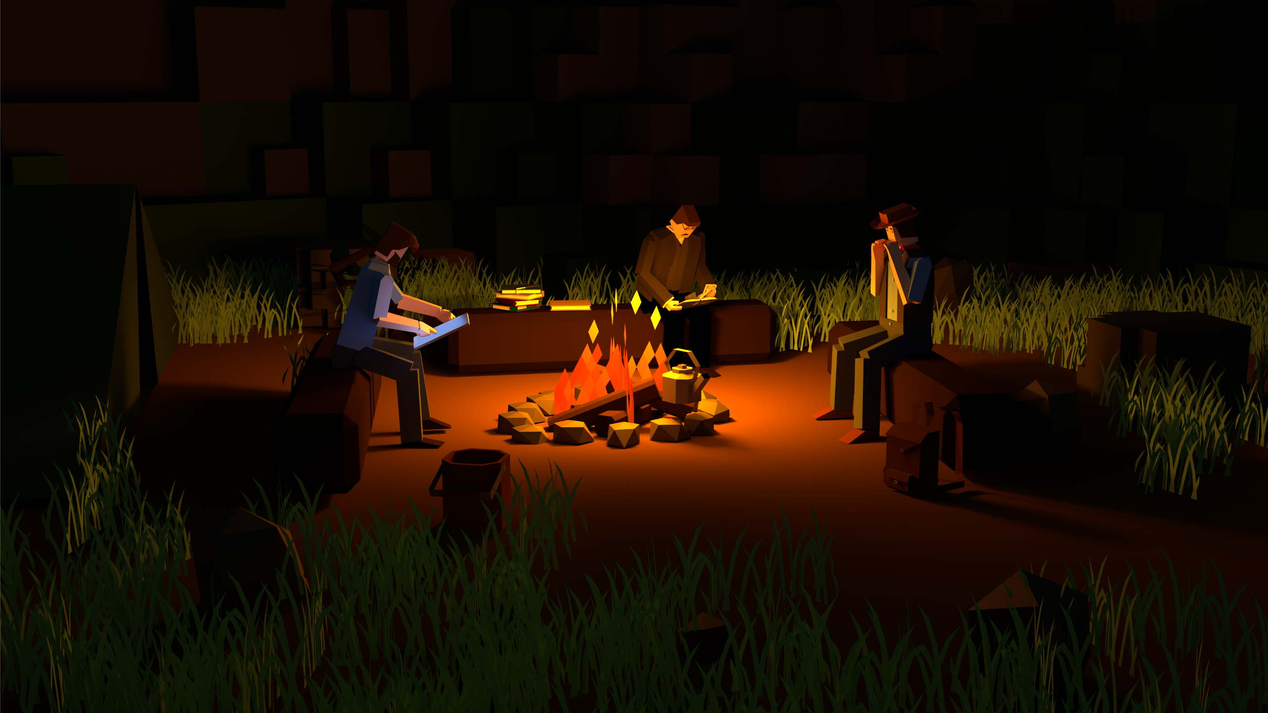 People sitting around calm campfire