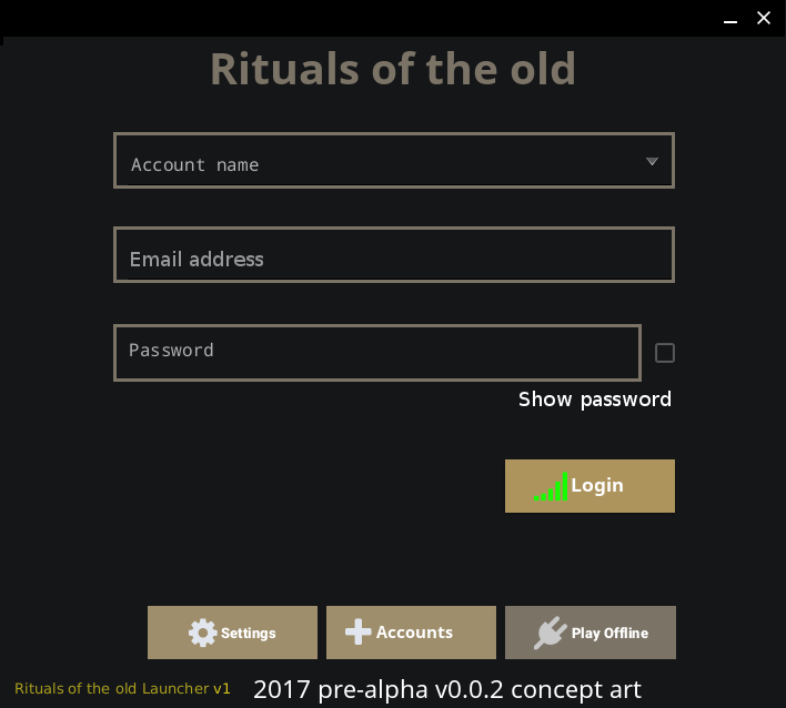 Rituals of the old launcher UI main window login prompt