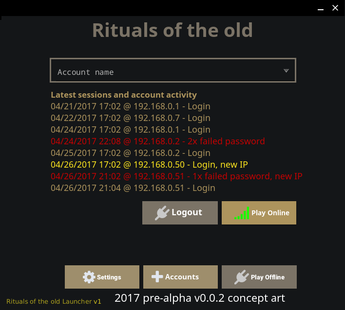 Rituals of the old launcher UI logged in
